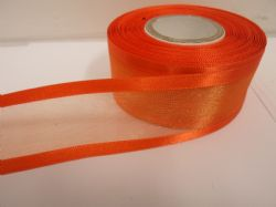 Pumpkin dark Orange satin edged organza ribbon, 2 or 25 metres, Double sided, 10mm, 15mm, 25mm, 40mm, 70mm